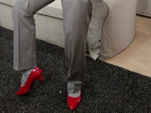 Dino Melchior Shows off his Heels on set at Rogers